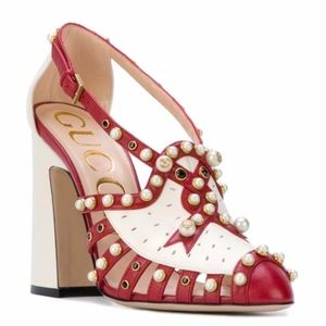 New Gucci Tracy Red/White Pearl Pumps 37.5